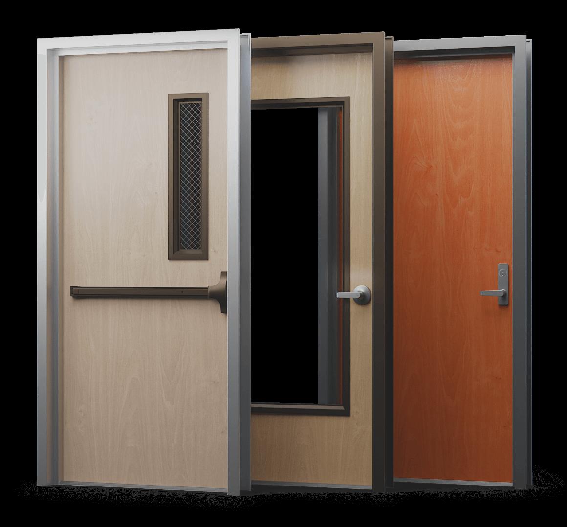 set of 3 commercial wood doors