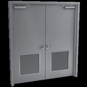 double steel door with louver