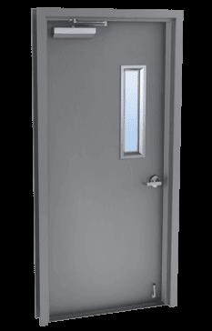 single steel door with glass kit