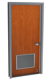 single wood door with louvers