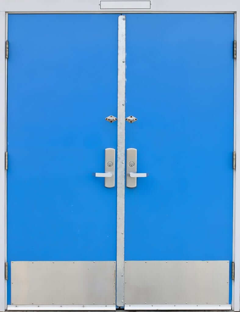 Old,Style,School,Door,-,Blue,Isolated,On,A,White