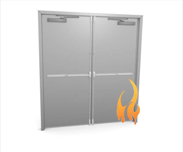 Fire rated commercial metal double doors cdf for 1 hour fire rated door price