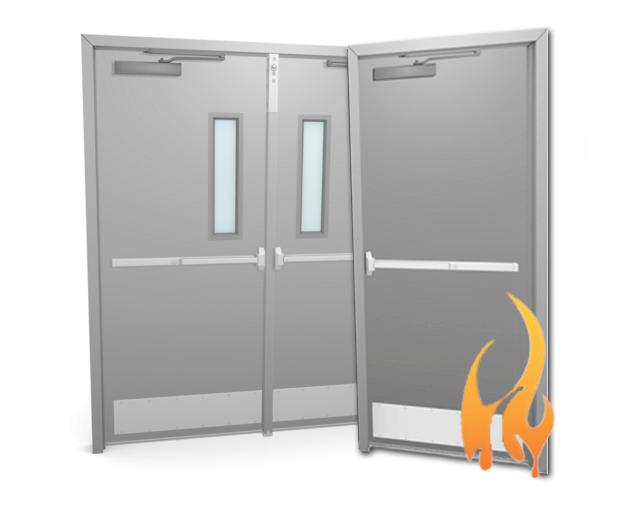 single or double metal or steel door fire rated