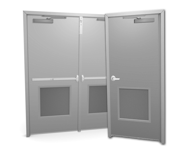 single or double metal or steel door with louver