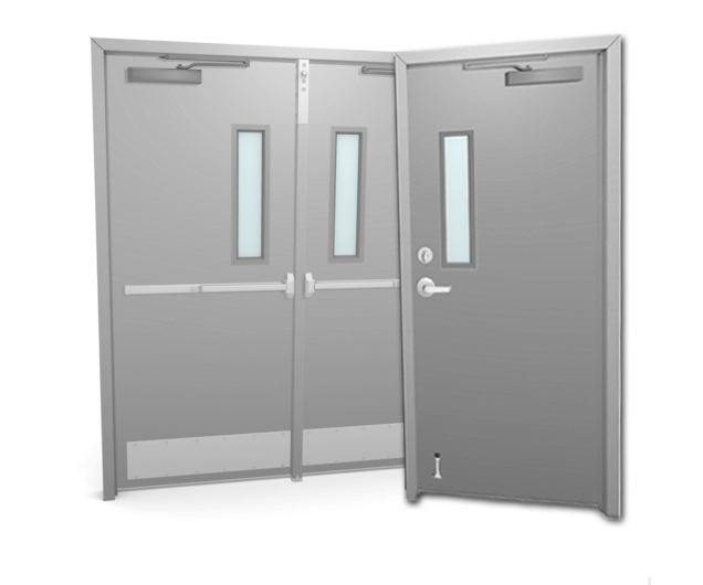 single or double metal or steel door with glass